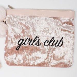 No Boundaries Pink Velvety Girls Club Wristlet
